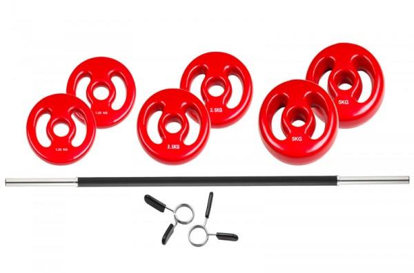 Trendy Langhantel-Set mit Griffmulden