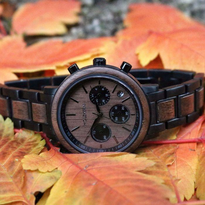 Holzkern Armbanduhr Wolkennacht