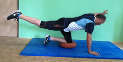 Ballkissen  Training Rücken Vierfüßlerstand Kniestand