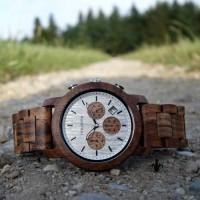 Herren Echtholzuhr Holzkern Chronograph Waldrand