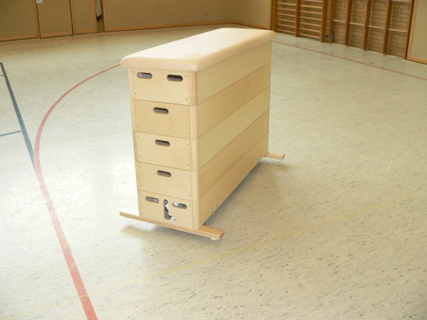 Sprungkasten Multiplex, 5teilig mit Kernrindleder